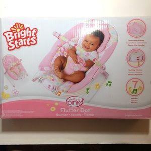 Bright Starts Flutter Dot Pink Baby Bouncer